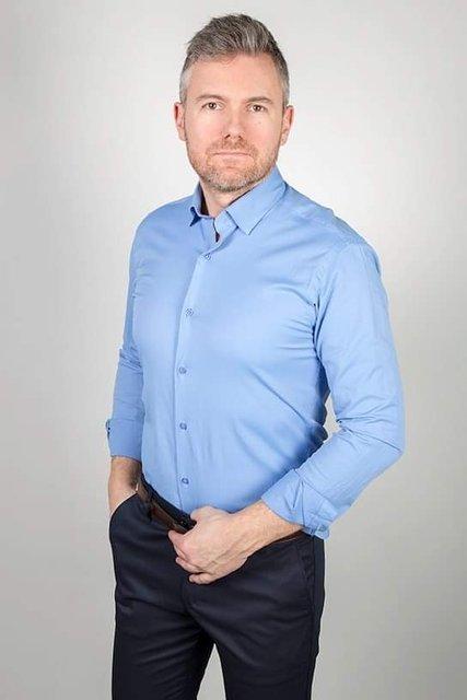 Koszula klasyczna z długim rękawem - niebieska
