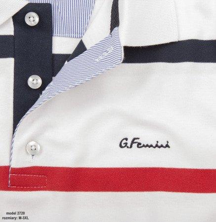 Koszulka męska polo Giovanni Ferrini 2720 - biała w paski