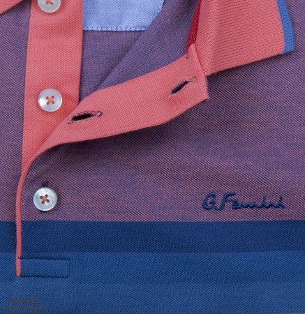 Koszulka męska polo Giovanni Ferrini 3170 - pomarańczowo-malinowa