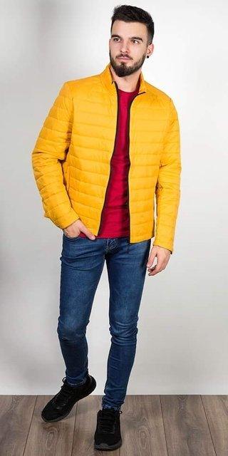 Kurtka męska, przejściowa, żółta, pikowana, model 8001.