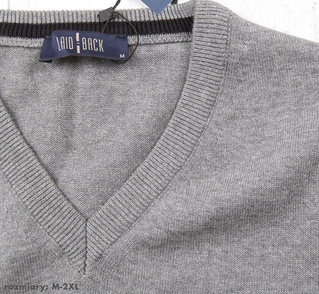 Sweter męski klasyczny Laid-Back - antracyt
