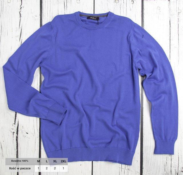 Sweter męski klasyczny Laid-Back - niebieski