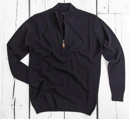 Sweter męski klasyczny z półzamkiem 5237 Granatowy