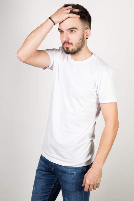 T-Shirt męski, gładki-biały